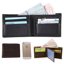 Black Men's Bifold Genuine Leather Wallet ID Credit Card Flip Holder Passcase