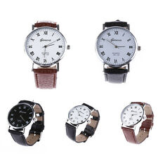 Men Women Geneva Fashion Leather Analog Stainless Steel Quartz Wrist Watch
