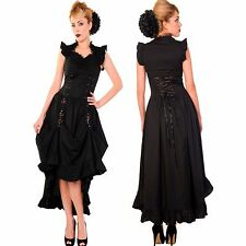 The Lady Victoria Steampunk Dress | Long Black Victorian Gothic Dress Size 08-20
