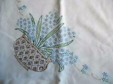 Vintage Hand Embroidered Small Tablecloth - Beautiful Hyacinth Bowls & Flowers