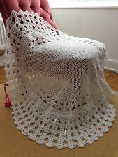 NEW round hand crochet BABY SHAWL & HAT swaddling christening WHITE RIBBON 40""