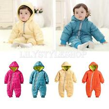 Baby Boys Girls Cotton Warm One-piece Hooded Romper Hoodies Jumpsuit Coat Outfit