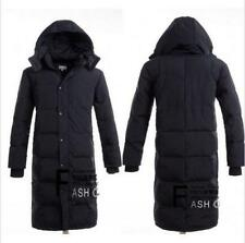 Mens Winter Warm thick Down coat Hooded Long Knee Puffer Jacket outdoor Parka