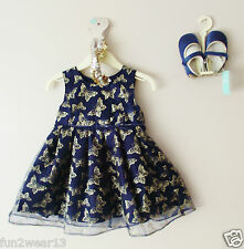 BNWT MONSOON BABY GIRLS NAVY BLUE & GOLD BUTTERFLY SPARKLY TULLE DRESS 6-12Month