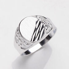 Solid Sterling Silver Platinum Plated Gents Signet Ring Sizes T - Y