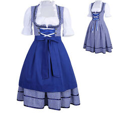 US Cheers German Dirndl Traditional Dress Oktoberfest Costume Xmas Party Blue