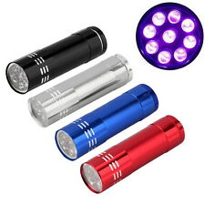 Mini Aluminum UV ULTRA VIOLET 9 LED FLASHLIGHT BLACKLIGHT Torch Light Lamp ER