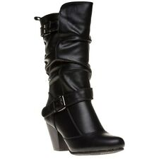 New Womens Lotus Black Cassius Synthetic Boots Knee-High Zip