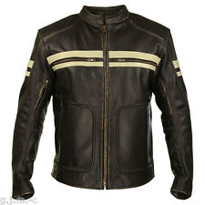 Xelement BXU165250  Men's Brown Leather Cruiser Motorcycle Jacket Beige Stripes