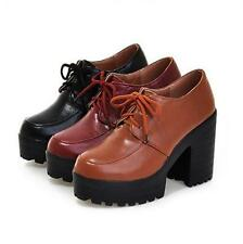 Womens platform block chunky heels lace up formal shoes oxford fashion pumps
