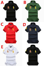 Embroidery Mens Cotton Polo Shirts Short Sleeve Turn-down collar Casual Shirts