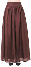 PURE SILK LONG MAXI FLOOR SKIRT CIRCLE PLEATED VINTAGE 50S BROWN SIZE 4 S A2332