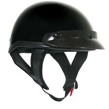 Outlaw T69 DOT Gloss Black Motorcycle Skull Cap Half Helmet w/ Removable Visor