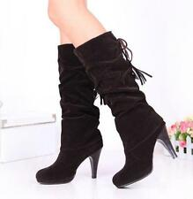 womens Slouch mid calf boots pull on stiletto heels platform lace up tassel shoe