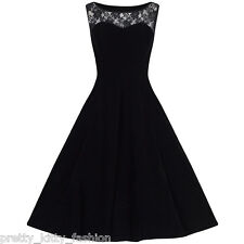 Black Velvet Lace Rockabilly Cocktail 50s 60s Sleeveless Rockabilly Swing Dress