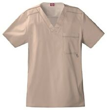 Dickies Scrubs Youtility Men's Scrub Top 81722 Khaki Dickies GenFlex