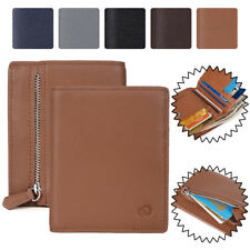 New KroO Genuine Cowhide Leather Womens Bi-Fold Wallet with Zipper Coin Pouch