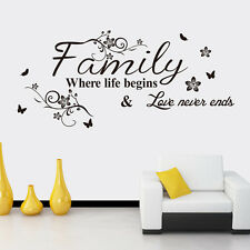 Family Where life begins Love never ends Quote Wall Sticker Art Home Decal Decor