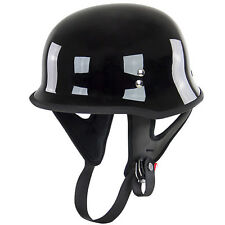 Outlaw T-75 Gloss Black Retro German Army Style Motorcycle Half Helmet Skull cap