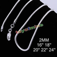 """Luxur 925 Sterling Silver 2mm Snake Chain Necklace 2mm 16"""" 18"""" 20"""" 22"""" 24"""" C0033"""