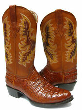 Men's Cognac Genuine Leather Exotic Crocodile Alligator Belly Cowboy Boots