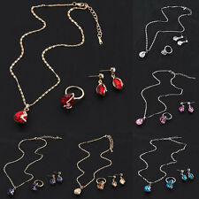 Gold Plated Austrian Crystal Earrings With Pendant Necklace Rings Jewelry Set EP