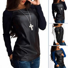 Womens Long Sleeve PU Leather Patchwork Blouse Ladies T-Shirts Jumper Tops Tee