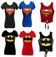 Ladies Tshirt and Crop Top Superman Batman Printed Tee Tie Knot Size 8 10 12 14