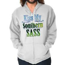 Kiss My Southern Sass Cute Country Girl Sassy Dixie Gift Ideas Zipper Hoodie