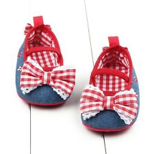 Baby Girl Mary Jane Infant Toddler Bowknot Cotton Soft Sole Crib Shoes Prewalker