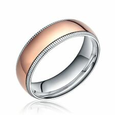 6mm/8mm Women's Men's Ring Titanium Rose Gold Dome Silver Love Wedding Band