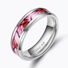 6mm/8mm Pink Camo Titanium Rings Wedding  Band Men &Women  Jewelry Comfort  Fit