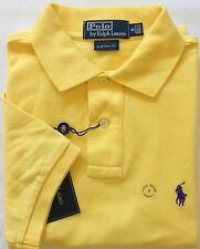 NEW Authentic Men's Ralph Lauren Polo Mesh Shirt Yellow CUSTOM FIT Size S