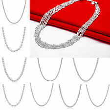 11 Style Womens S925 Sliver Plated Choker Chain Rope Bid Statement Necklace