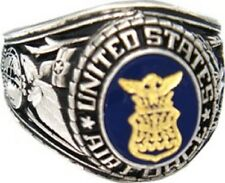 United States Air Force USAF Rhodium Military Ring w/Stone - Size 8 - 13