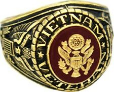 United States Army Vietnam Veteran 18K Gold Plated Military Ring - Size 8 - 13