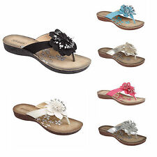 LADIES WOMENS SUMMER FLOWER TOE POST FLIP FLOPS HOLIDAY CASUAL FASHION SHOES