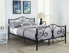 Cheap New Metal Bed Double King Size Frame White Black With Crystals Finials