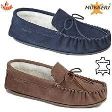 MENS GENUINE LEATHER MOCCASIN WARM LINED HARD SOLE WINTER SLIPPERS LOAFERS SHOES