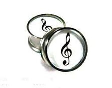 Clef Note Plugs / Gauges / Tunnels Double-sided Flare  (2 Pieces)