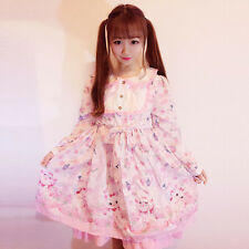 Sweet Lolita Gothic Doll Collar Neko Printing Long Sleeve Dress Small Fresh#S93