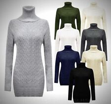 Women's Cable Chunky Knitted Polo Neck Jumper Mini Jumper Dress High Neck dress