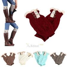 Womens Leg Warmers Lace Trim Toppers Cuffs Crochet Knit Boot Socks With Button