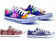 LADIES WOMENS CANVAS TRAINERS FLOWER SHOES NEW FLAT PUMPS LACE UP SIZE 3,4,5,6,7