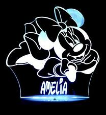 MINNIE MOUSE PERSONALISED NAME LED NIGHT LIGHT LAMP 13 COLOURS KID'S & BABY ROOM