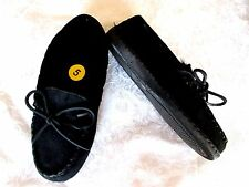 MINNETONKA Cally 5M Black Soft Suede Pile Lining Hard Sole MOCCASIN SLIPPERS NEW