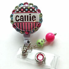 PERSONALIZED COTTON CANDY POLKA DOTS BLING RETRACTABLE ID BADGE HOLDER LANYARD
