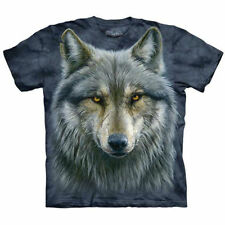 WARRIOR WOLF The Mountain T Shirt Gray Brown Wolves Animal Head Face Tee S-5XL