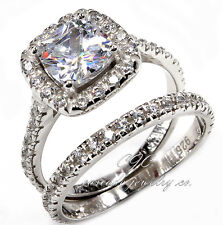 Gorgeous Princess Cut HALO Engagement Wedding Ring SET SOLID Sterling Silver CZ