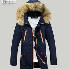 Mens Warm Down Cotton Jacket Fur Collar Thick Winter Hooded Coat Parka outerwear